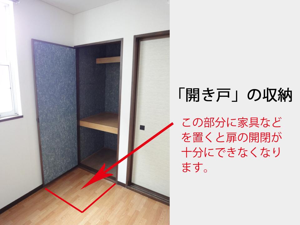 開き戸の収納のイメージ